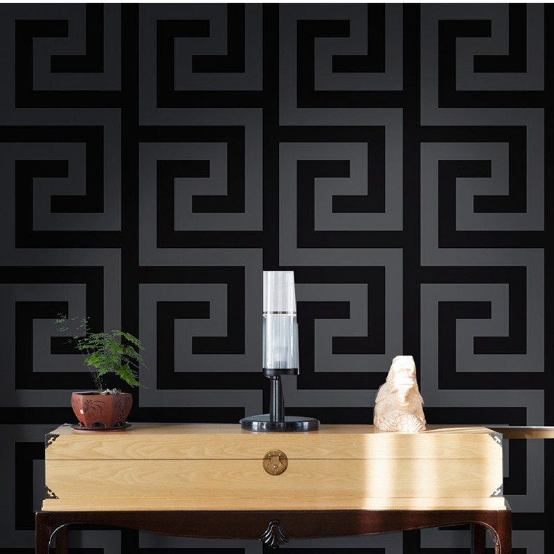 Geometric Wall Papers Black Grey Luxury Satin Effect Large Greek Key Wallpaper Living Room Background Decor