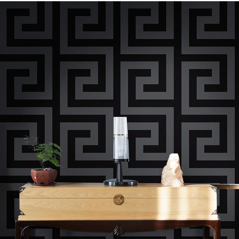 Geometric Wall Papers Black Grey Luxury Satin Effect Large Greek Key Wallpaper Living Room Background Decor