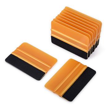 FOSHIO 10pcs Carbon Fiber Film Vinyl Wrapping Fabric Felt Squeegee Car Wrap Window Tint Tool Cleaning Scraper Sticker Remover foshio 100pcs 1 5 razor blade 2pcs glass ceramic clean scraper window tint tool vinyl car wrap film sticker remover squeegee