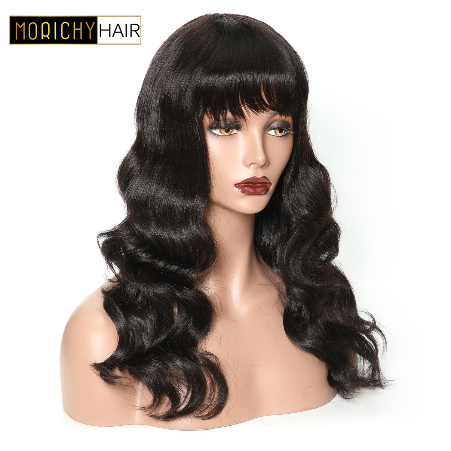 Morichy Wavy Human Hair Wig With Bangs For Women Brazilian Hair Colored Wig Non Remy 130% Density 1B And Burgundy Free Shipping