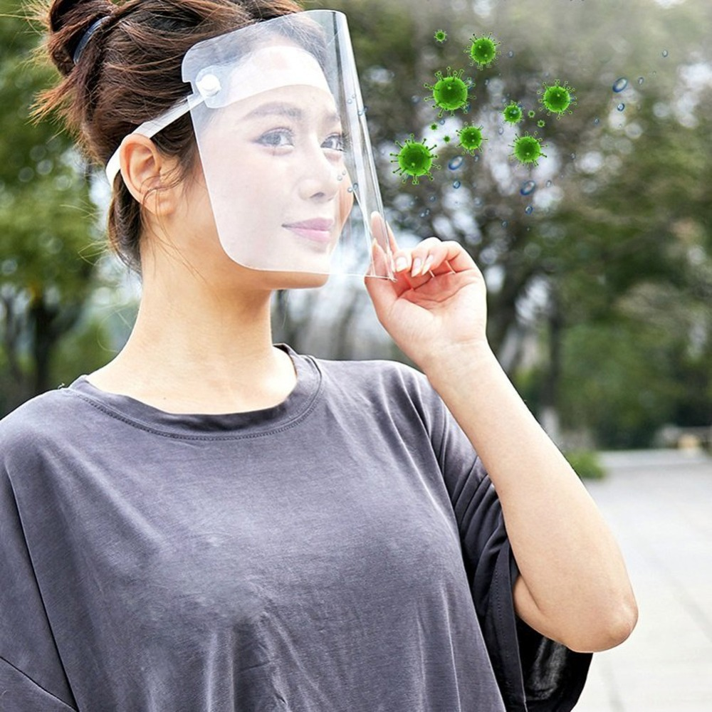 4/10PCS Clear Face Cover with Double-Sided Film and Adjustable Headband to Protect Full Face 10