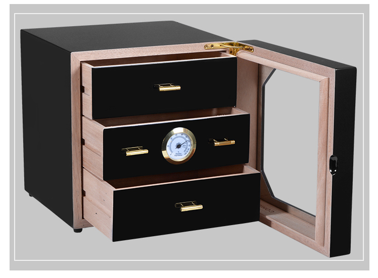 Zwarte kast sigaar humidor hoogwaardige meerdere lak cederhout 3 sigaret opbergdoos case aansteker Met Hygrometer - 2