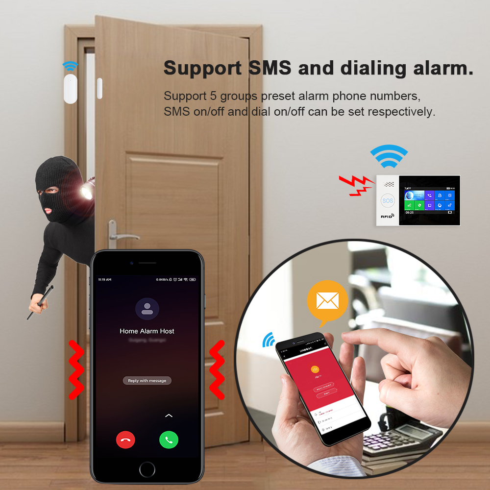 Tuya WiFi GSM home Security Protection smart Alarm System Touch screen Burglar kit Mobile APP Remote Control RFID Arm and Disarm 2