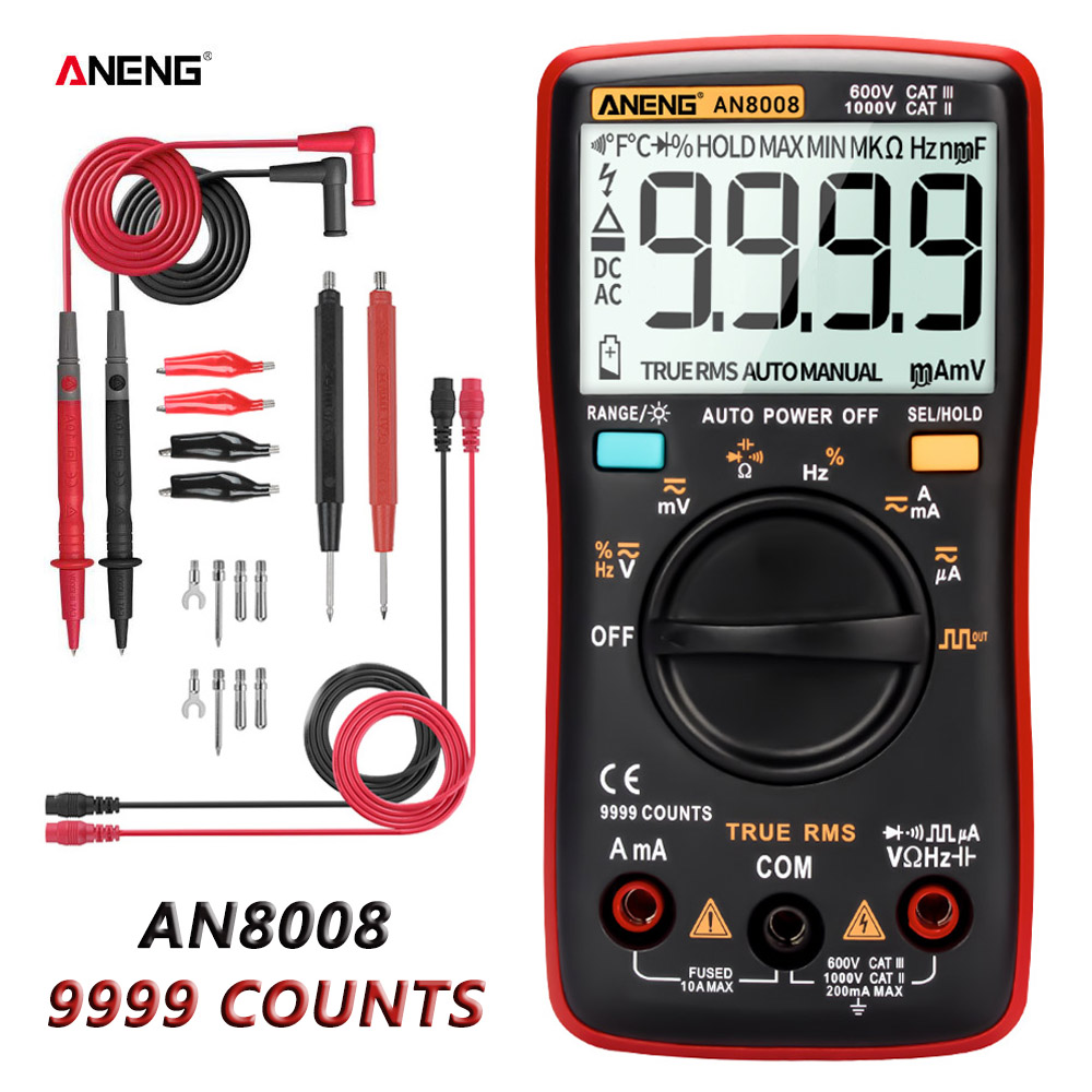 ANENG AN8008 Digital Multimeter 9999 Counts Transistor True RMS Tester Rm409b Auto Electrical Testers Voltage Capacitor Meters