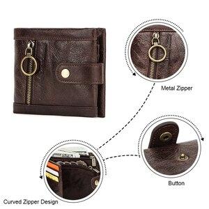 Image 5 - Contacts carteira de couro genuíno dos homens bolsa de moedas masculino pequenos suportes de cartão rfid carteiras ferrolho design casual portfel bolso com zíper