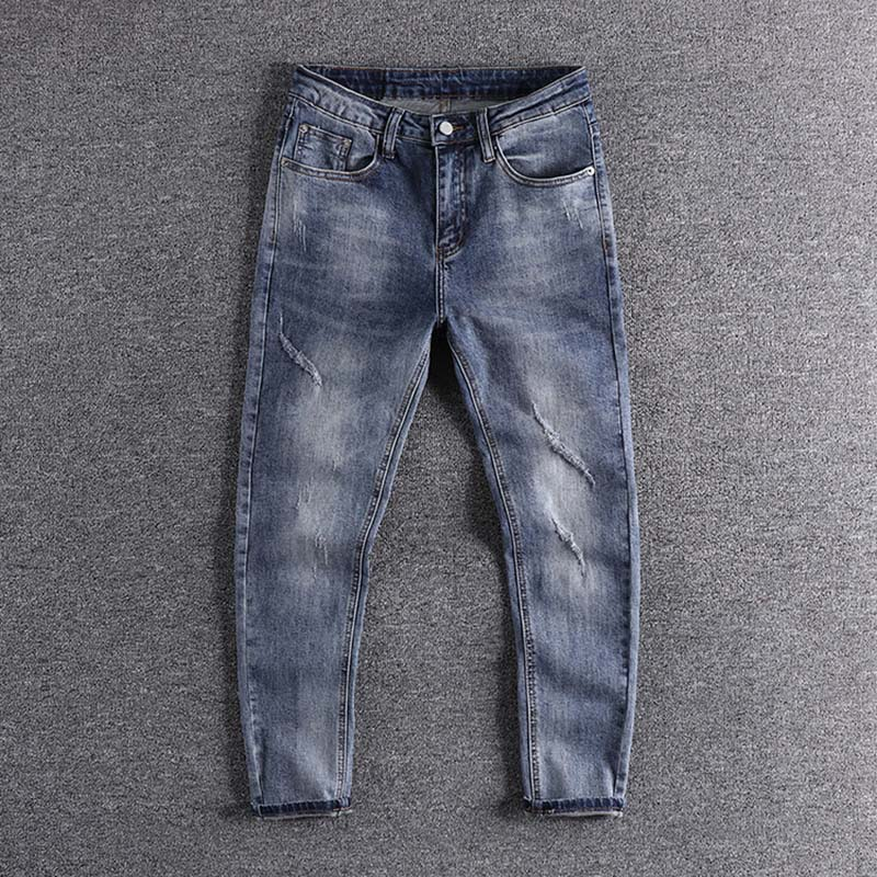 2020 Simple Light Blue Kitten's Youth Cropped Trousers European And American Fashion Slim Fit Small Leg Men's Jeans Cool Trouser