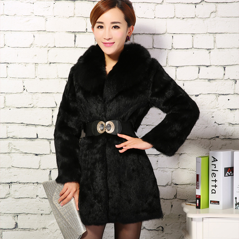 2019 winter fur coat women slim long natural full pelt rabbit fur jacket outerwear ladies warm clothes with fox fur collar image