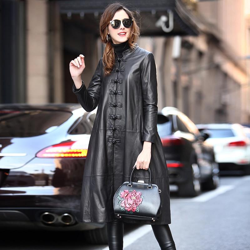 Nerazzurri Long Black Spring Faux Leather Coat Women Long Sleeve Chinese Style Plus Size Leather Jackets For Women 5xl 6xl 7xl