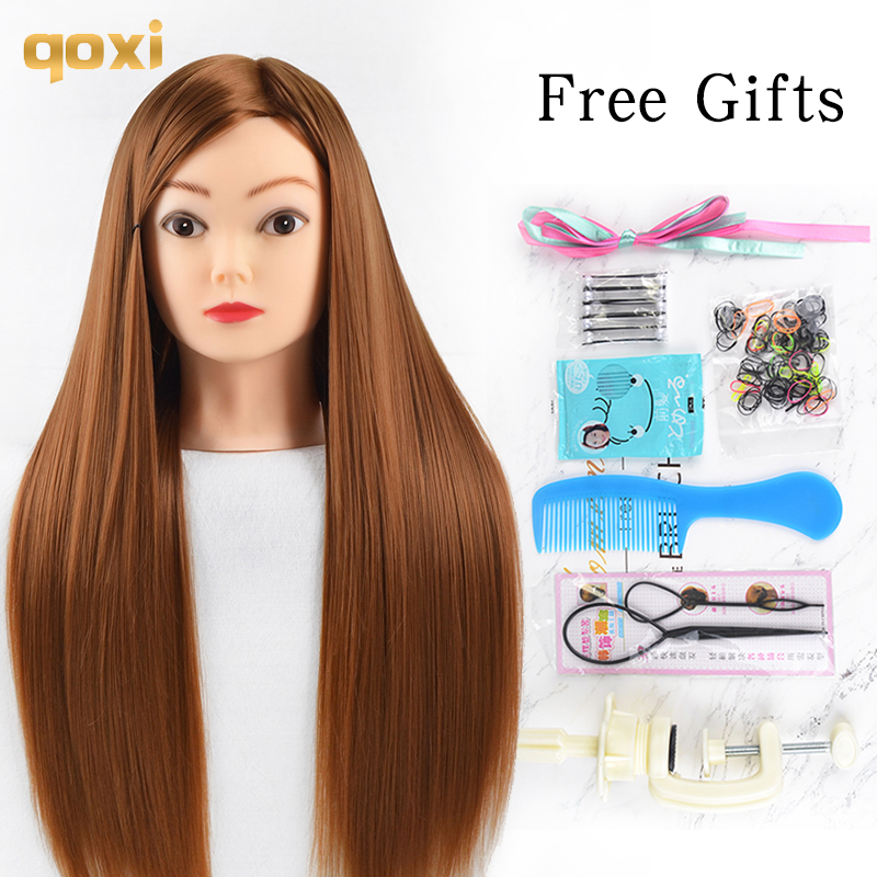 Qoxi Professional Training Heads With Long Thick Hairs Practice Hairdressing Mannequin Dolls Hair Styling Maniqui Tete For Sale