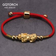 Lucky браслеты из красной веревки 999 стерлингового серебра Pixiu Золото Цвет Тибетские буддийские узлы регулируемый браслет для женщин и мужчин