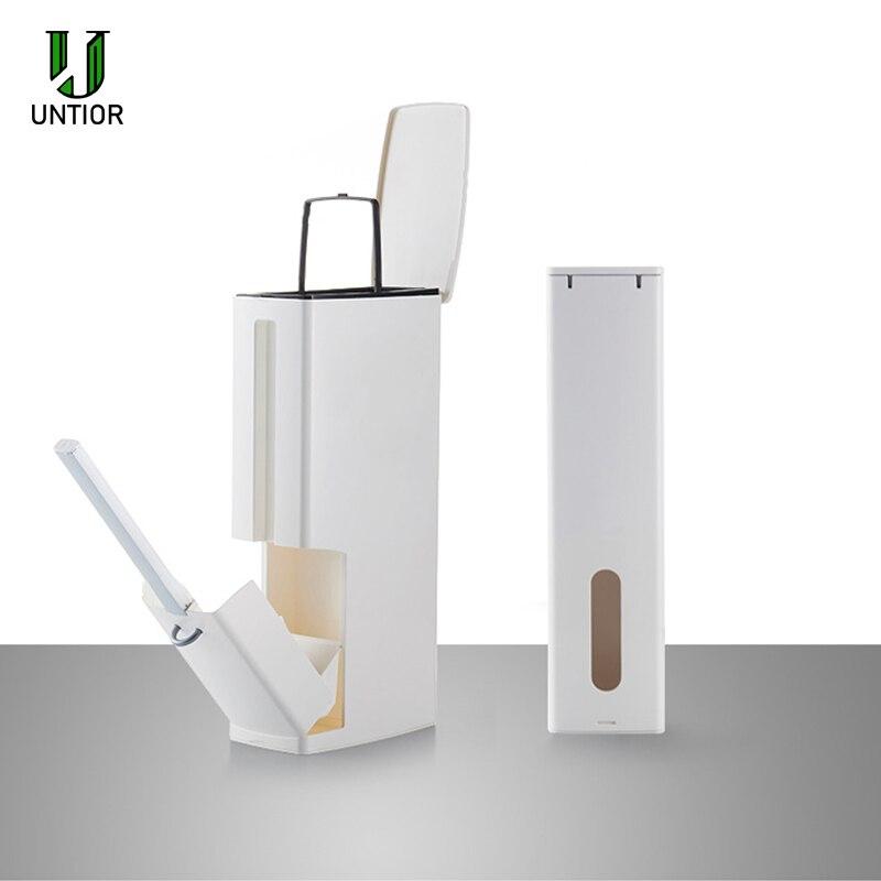UNTIOR-cubo de basura de plástico con cepillo para inodoro, cubo de basura, papelera, Herramientas de limpieza de baño multifunción, 6L