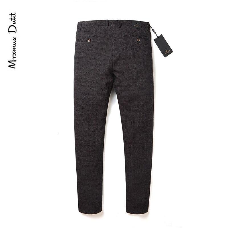 Mrxmus Dutit Autumn And Winter Dark Cell Fashion Woolen Elasticity Slim Fit Suit Pants Pencil Pants MEN'S Casual Pants