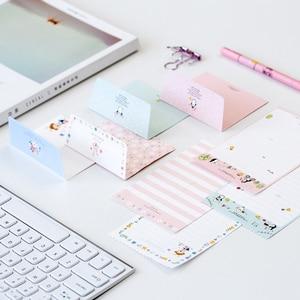 Image 2 - Lote de 30 unidades de Mini tarjetas de felicitación de dibujos animados Kawaii, juego de papel de carta, diseño de cuatro letras, 92x135mm
