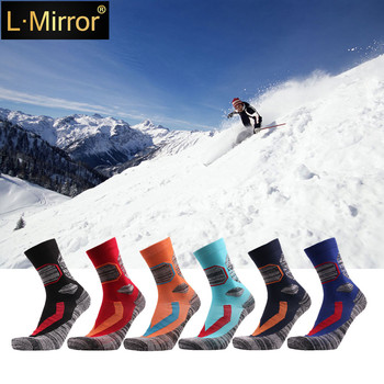 L.Mirror 1Pair Ski Socks-Lightweight Thicken Cotton Warm Skiing Socks for Men and Women winter warm men women thermal ski socks thick cotton sports snowboard cycling skiing soccer socks leg warmers long socks