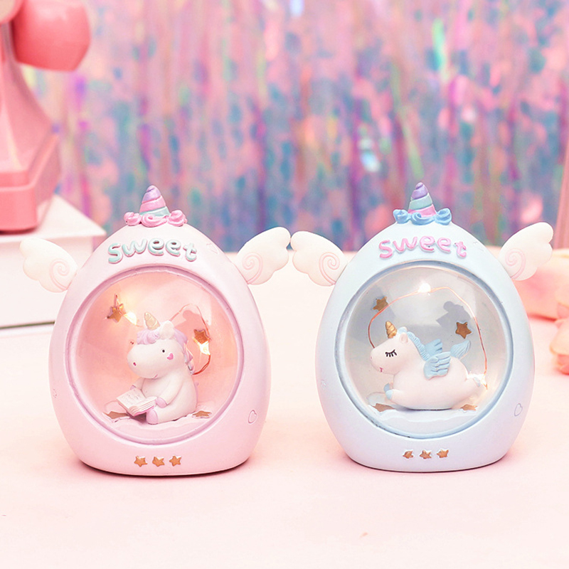 Cute Resin Cartoon Unicorn LED Novetly Light Plastic Cloud Lamps  Animal Home Decor Bedside Lamps For Baby Kids Birthday Gift