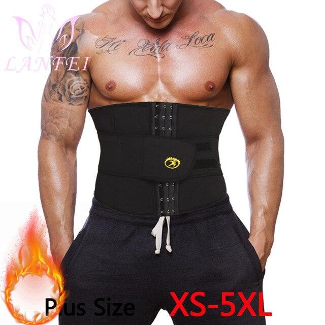 LANFEI Men Waist Trainer Slimming Belt Body Shaper Sweat Sauna Modeling Strap Workout Waist Trimmer Weight Loss Corset Plus Size