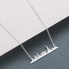 SANYU Stainless Steel New York City Pendant Necklace for Women Men NYC Skyline Necklace Cityscape Statue of Liberty Necklace(China)