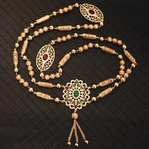 Image 5 - Novo estilo de moda marroquino casamento ombro jóias para mulheres ouro oco padrão strass jóias bra