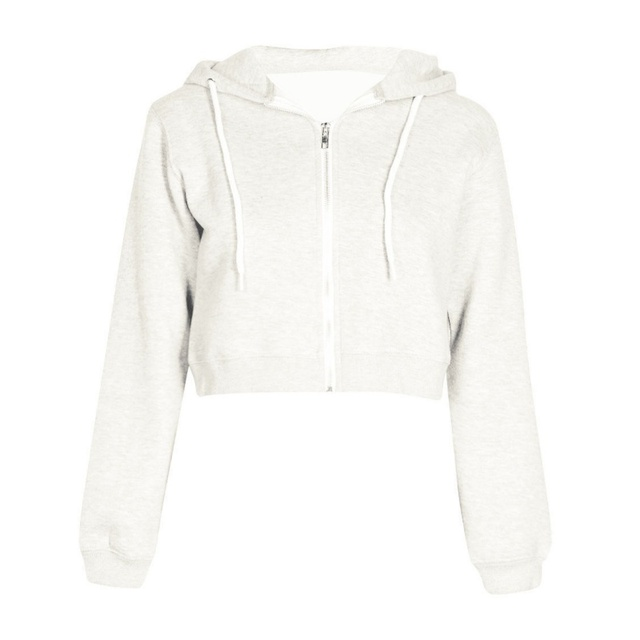 Women Autumn Spring Tops Drawstring Hooded Long Sleeve Hoodie Sweatshirts Zip Up Crop Casual  Jacket Zipper Coat Outwear