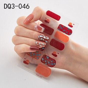 14pcs/sheet Glitter Gradient Color Nail Stickers Nail Wraps Full Cover Nail Polish Sticker DIY Self-Adhesive Nail Art Decoration 30