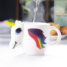Creative Discoloration  Unicorn Mugs Ceramic 3D Animal Cartoon Cute Porcelain Coffee Milk Cup Gift Handpainted Home