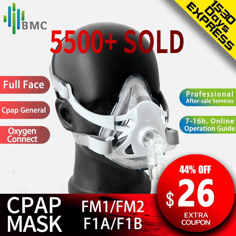 BMC FM1/FM2/F1A/F1B Full Face Mask For Snoring Apply To Medical CPAP BiPAP Material Size S/M/L with Headgear Free Shipping