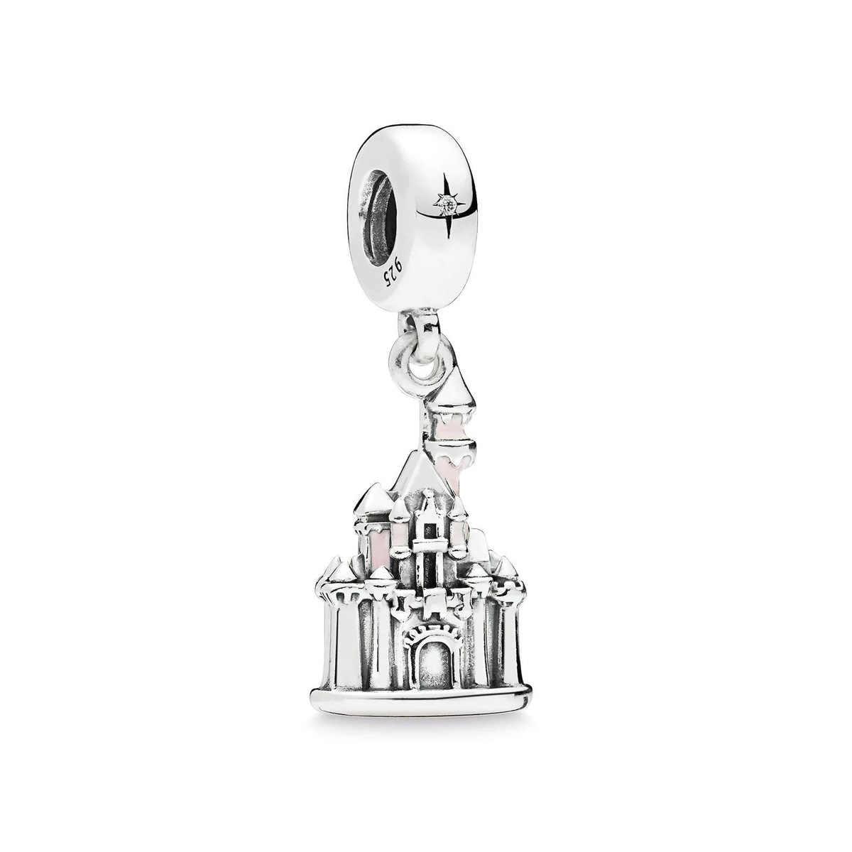 Verdadeiro 925 Sterling Silver Beads Charme Rosa Castelo Esmalte Pendente Charme Fit Pandora Originais Pulseiras & Colares Mulheres Jóias