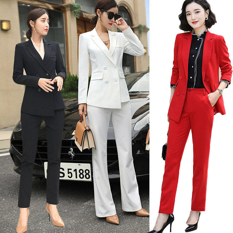Female Formal Women's Costumes Pants Suits Classic Office Lady Business Pantsuit Female Blazer Trouser Suit Set Workwear Uniform