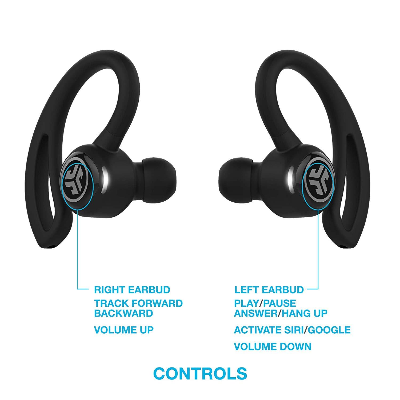 Original JLab Epic Air Sport True Wireless Bluetooth Headphones Earhook Earbuds Black - New