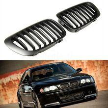 Солнцезащитным козырьком, с черной решетка радиатора для спортивных авто решетка радиатора гриль почек двойная планка матовый черный для BMW E46 купе 2-двери 1999-2002 Замена