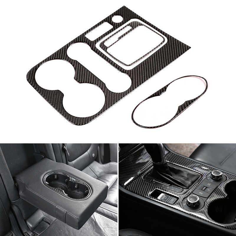 리얼 카본 파이버 자동차 인테리어 센터 컨트롤 기어 시프트 패널 워터 컵 홀더 커버 프레임 트림 vw touareg 2011-2018