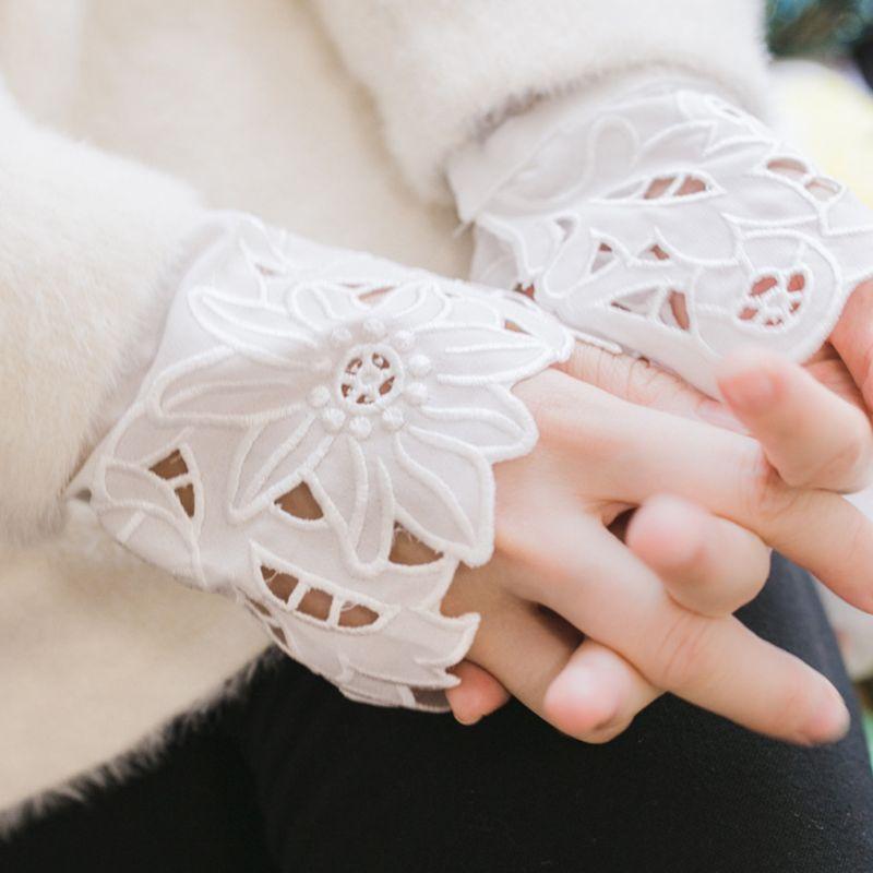 THINKTHENDO 2pcs/pair Women Girl Fake Cuff Delicate Crotchet Floral Lace Cutout Wrist Decor