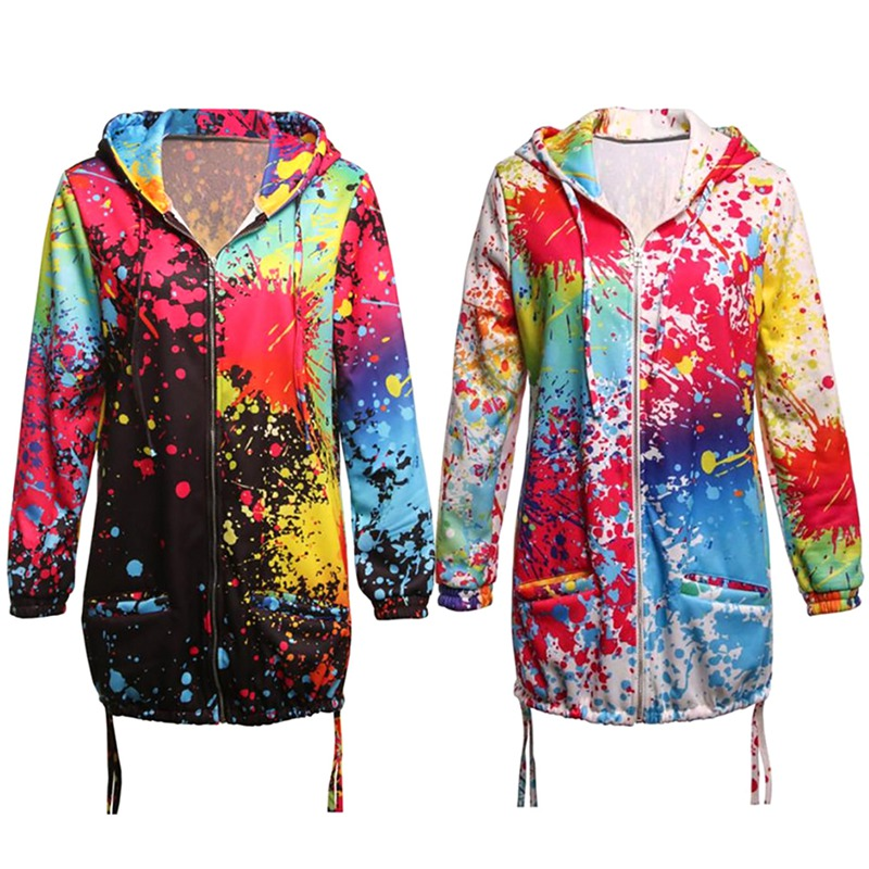 Women Autumn Tie Dyeing Jackets Hooded Plus Size Casual Colourful Pocket Zipper Loose Coat Hip Hop Outwears Clothing S-5Xl