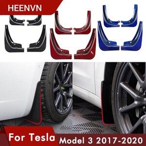Heenvn Model3 Carbon Fiber For Tesla Model 3 Mud Flaps Guard Fender Front Rear Wheel Mudguard For Tesla Three Accessories ABS