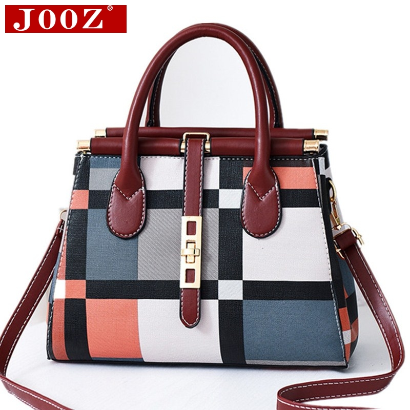 JOOZ Women's Bag Elegant Designer Stitching Crossbody Bag Ladies Top-handbag Belt Metal Buckle Shoulder Bag For Women