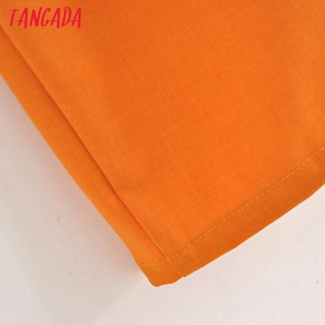 Tangada fashion women solid orange tunic dress short sleeve elegant ladies midi dress vestidos 3H906 5