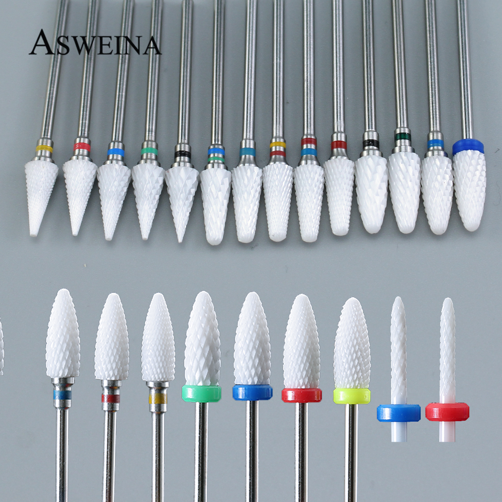 1pcs Ceramic Nail Drill Bit For Electric Manicure Drills Machine Milling Cutter Nail Files Buffers Nail Art Equipment Accessory