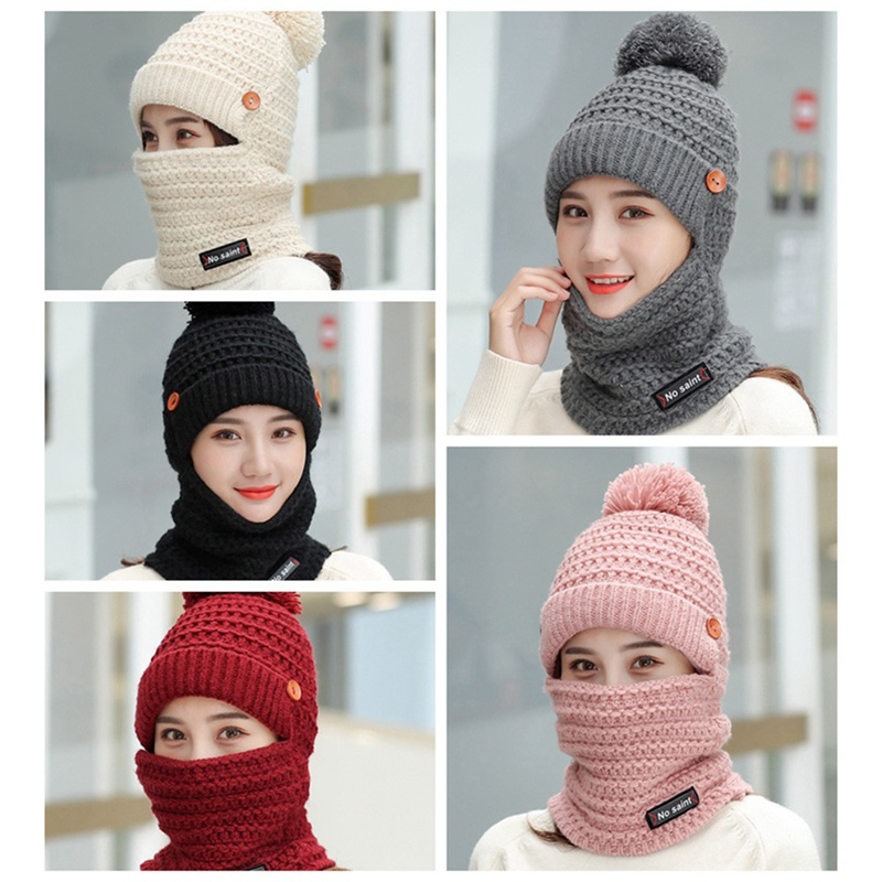 New Fashion Women Hat Female Winter Wild Plus Velvet Warm Autumn And Winter Ladies Sweet Cute Knitted Wool Hat