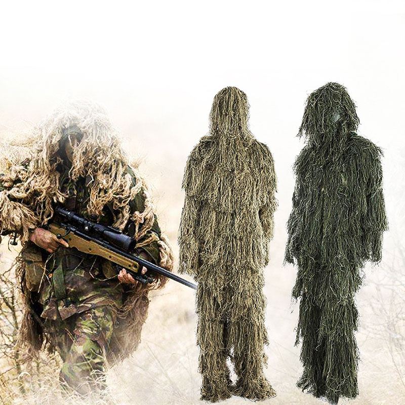 3D Universal Camouflage Suits Woodland Clothes Adjustable Size Suit For Hunting Army Military Tactical Sniper Set Kits