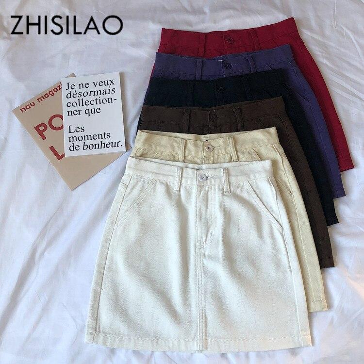 Denim Skirt Women Solid Vintage Elegant Casual A-line Mini Skirt Black Retro Punk High Waist Summer 2020 Jeans Skirt White