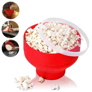 Novo 2020 cor vermelha silicone pipoca recipiente dobrável de alta qualidade cozinha gadgets diy pipoca balde tigela maker tampa