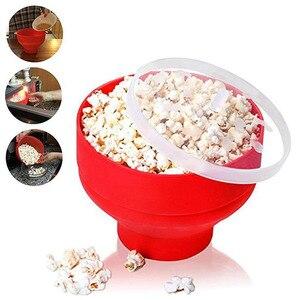 New FDA Silicone Red Popcorn Bowl Home Microwaveable Pop Corn Maker Bowl Microwave Safe Popcorn Bakingwares Bucket(China)
