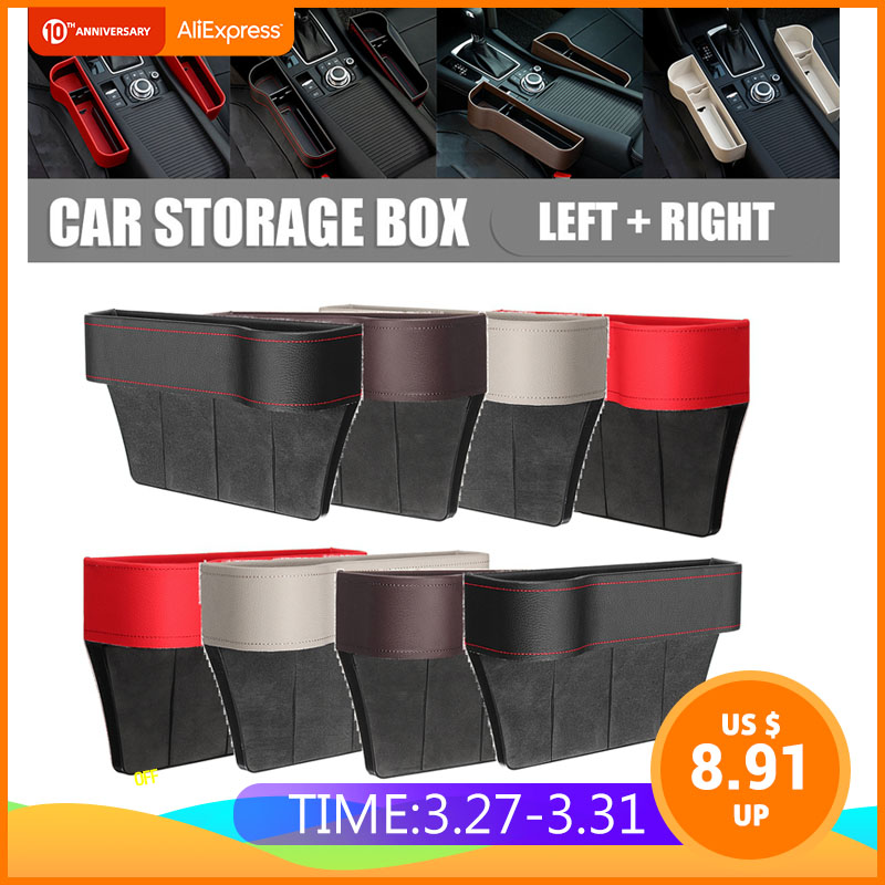 Left/Right Universal Pair Passenger Driver Side Car Seat Gap Storage Box For Pocket Organizer Phone Holders Black/Beige/Red