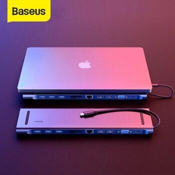 Baseus Multi USB C a HDMI VGA RJ45 HUB USB 3,0 para MacBook de tipo profesional C accesorios de computadora 11 puertos del divisor del USB C