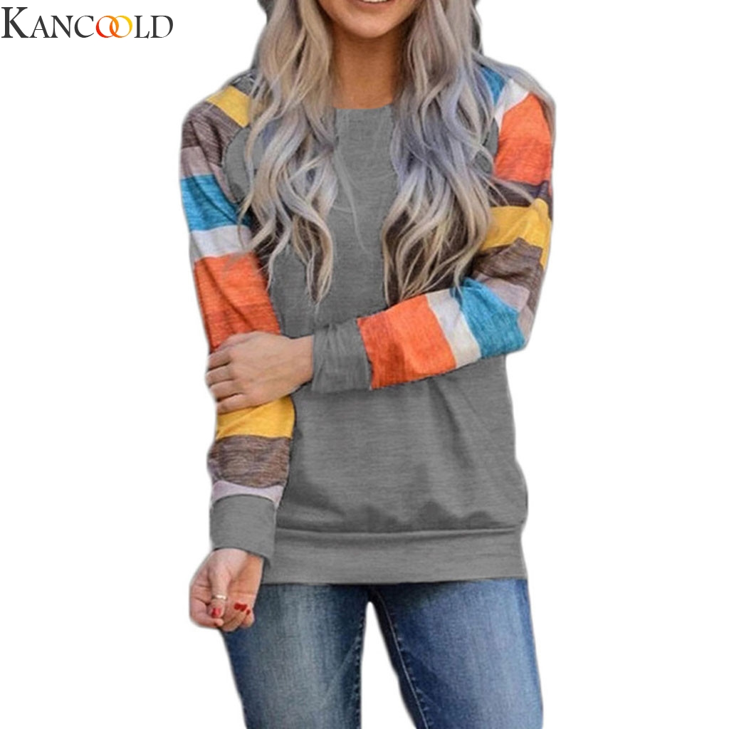 KANCOOLD Striped Women Sweartshirts Autumn Casual Round Neck  Long sleeve winter based Cloth High Quality Tops Sweartshirts New