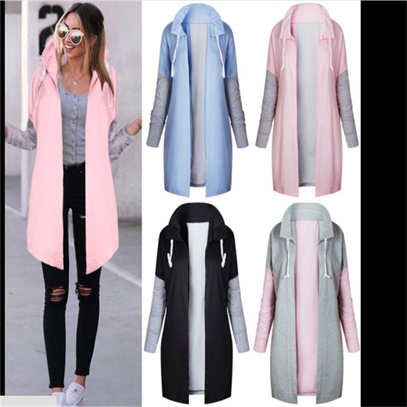 Autumn Women Fashion Clothing Patchwork Casual Long Coat Women's Hoody Jacket Long Cardigans Spring Outerwear Coats Female