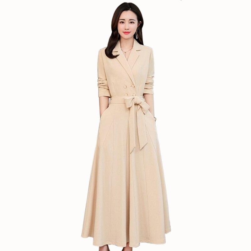 Mode cheville-longueur robe femmes vêtements tempérament col en v à manches longues robe 2019 printemps décontracté a-ligne robe femmes