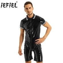 IEFiEL メンズラテックス Wetlook セクシーなランジェリークラブウェアパテントレザーフロントジッパーボクサーショーツレオタードスーツの衣装 Bodystocking