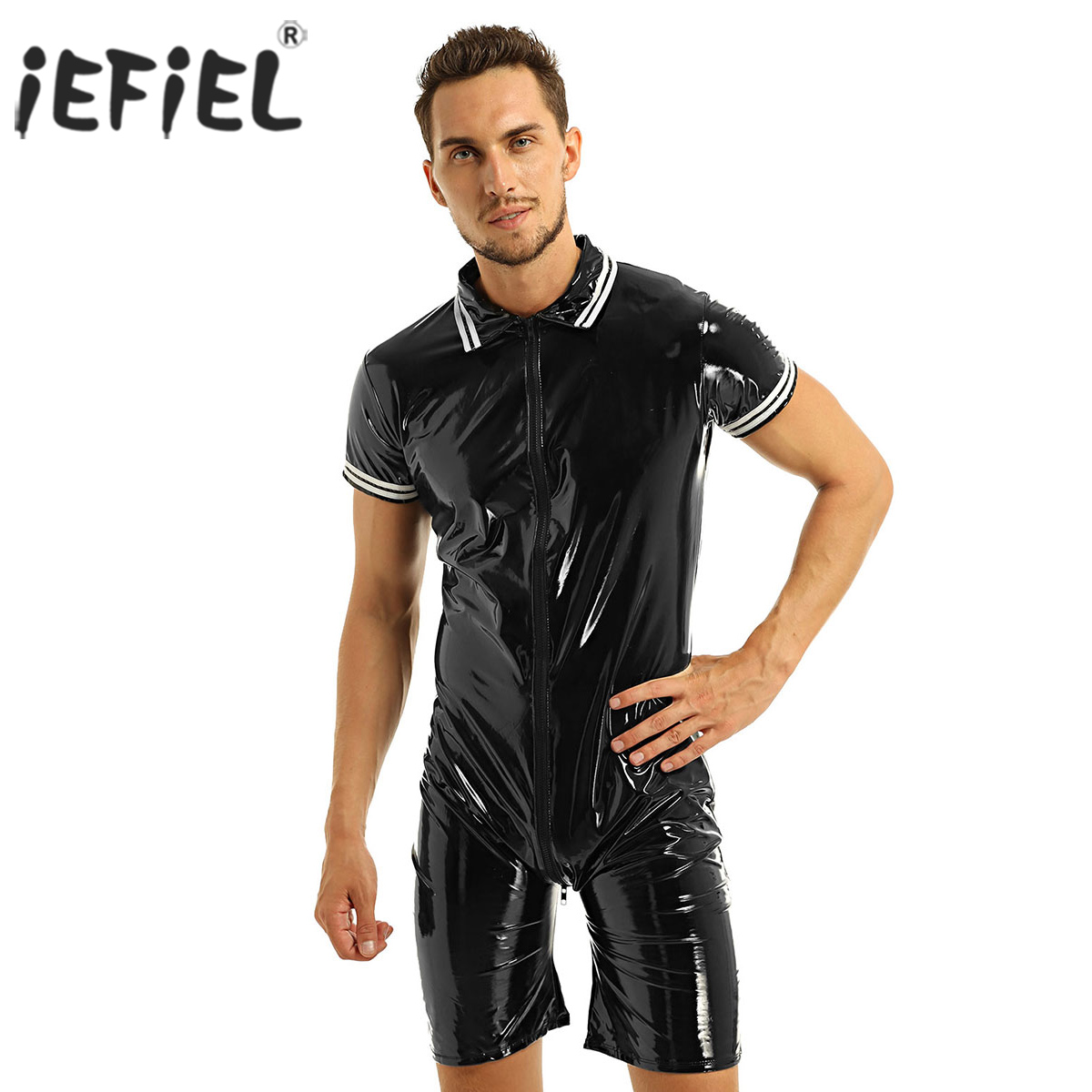 iEFiEL Mens Latex Wetlook Sexy Lingerie Clubwear Patent Leather Front Zipper Boxer Shorts Leotard Bodysuit Costumes BodystockingTeddies & Bodysuits   -