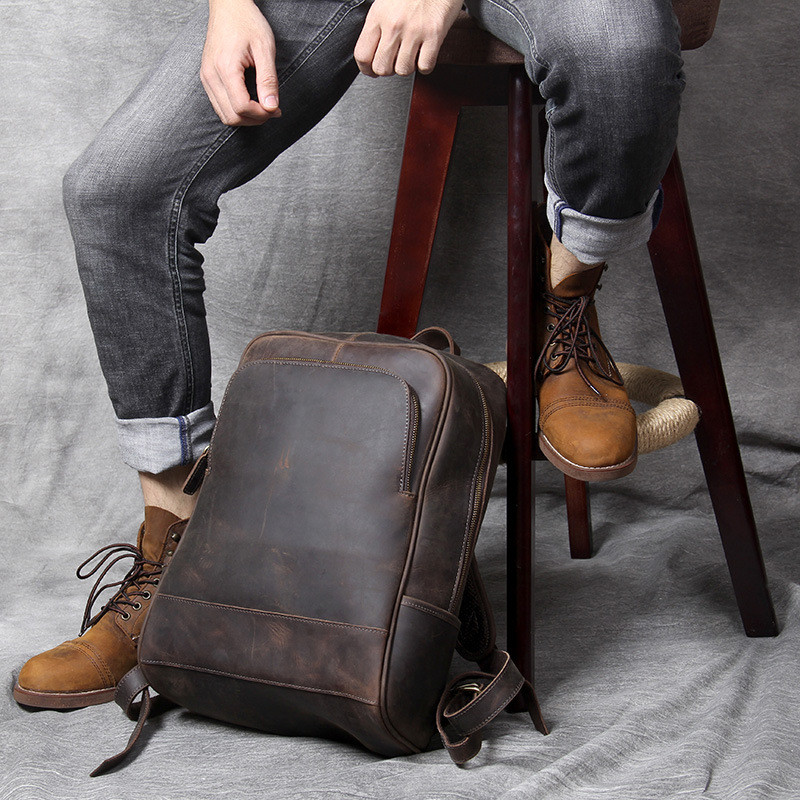 PNDME high quality crazy horse cowhide men 39 s backpack vintage simple genuine leather anti theft travel large laptop bookbag in Backpacks from Luggage amp Bags